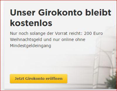 Ausschnitt aus der Seite mit der Werbung für das kostenlose Girokonto der Commerzbank